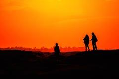 Заход солнца на утесе Стоковые Фотографии RF
