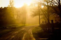 Заход солнца на ферме Стоковые Изображения