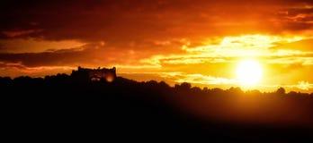 Заход солнца на Форте du Mont Alban Стоковые Фотографии RF
