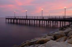 Заход солнца на фронте Лимасола прибрежном, Кипре, Европе Стоковое Изображение