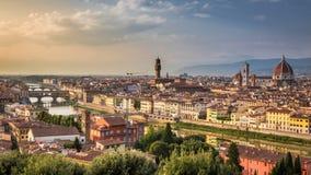 Заход солнца над Флоренсом, Италией Стоковое Изображение RF