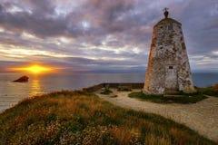 Заход солнца на холме маяка Стоковая Фотография