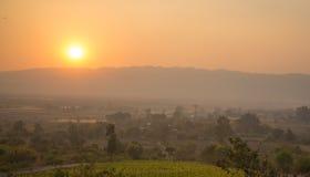 Заход солнца на холме Стоковая Фотография RF