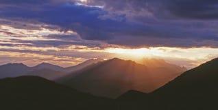 Заход солнца на цепи Lagorai Стоковые Фотографии RF