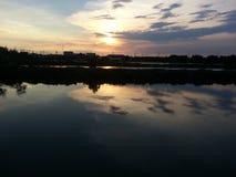 Заход солнца на челке Khun thian Бангкоке Таиланде Стоковое Фото