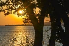 Заход солнца на Чёрном море в Gelendzhik Стоковая Фотография RF