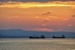 Заход солнца на Чёрном море стоковое фото