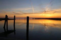 Заход солнца на штилях на море настолько симпатичных Стоковые Изображения RF