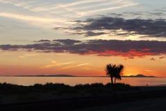 Заход солнца над дюнами стоковое фото rf