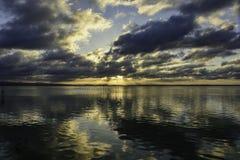 Заход солнца на Albufera Валенсии Стоковое Изображение