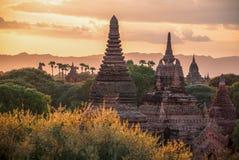 Заход солнца над Bagan, Myanmar Стоковые Фотографии RF
