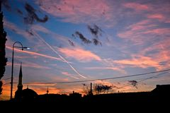 Заход солнца на Bascarsija/старом городке Сараеве Стоковая Фотография RF