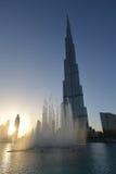 Заход солнца на Burj Khalifa Стоковое Изображение
