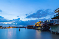 Заход солнца на Chao Реке Phraya Стоковая Фотография