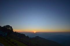 Заход солнца на Doi Chang Mup Стоковая Фотография RF