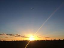 Заход солнца над Essex в Англии Стоковые Фотографии RF