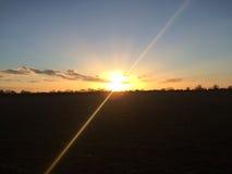 Заход солнца над Essex в Англии Стоковое Изображение RF