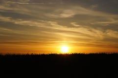 Заход солнца над Greatbelt, Дания Стоковое Изображение