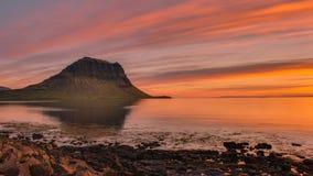 Заход солнца на Grundarfjordur Стоковые Фото