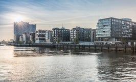 Заход солнца на Hafencity HDR Стоковая Фотография RF