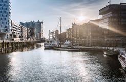Заход солнца на Hafencity HDR Стоковое Изображение RF