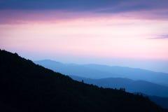 Заход солнца над Kartepe, Kocaeli, Турцией Слои и атмосфера Стоковые Изображения