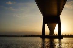 Заход солнца на Lillebaelt в Дании Стоковое фото RF