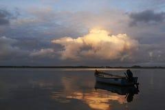 Заход солнца на naessund в Дании Стоковые Фото