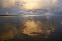 Заход солнца на naessund в Дании Стоковая Фотография RF