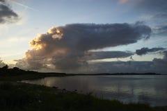 Заход солнца на naessund в Дании Стоковые Изображения RF