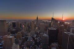 Заход солнца над NYC [Нью-Йорком, Соединенными Штатами] Стоковая Фотография