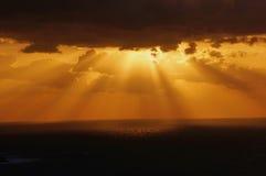 Заход солнца над Oia Стоковое Изображение RF