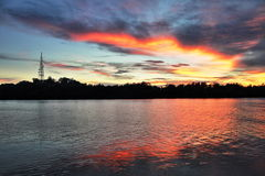 Заход солнца на Pasir Penambang Стоковые Изображения