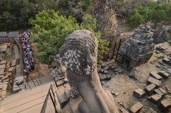 Заход солнца на Phnom Bakheng, Angkor Стоковые Фото