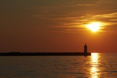 Заход солнца на Porec Стоковые Фото