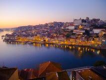 Заход солнца на Ribeira, Порту, Португалии Стоковое фото RF