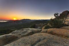 Заход солнца в Corse Стоковое Изображение RF