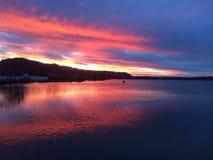 Заход солнца на Rotorua Стоковое фото RF