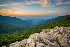 Заход солнца над Shenandoah Valley и горами голубого Риджа от Стоковое Изображение