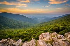 Заход солнца над Shenandoah Valley и горами голубого Риджа от Стоковые Фото