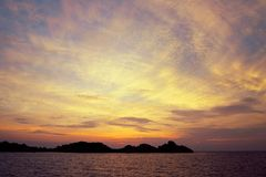 Заход солнца на Similan Стоковое Фото
