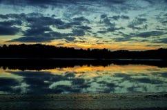Заход солнца над solway лиманом Стоковые Изображения RF