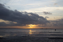 Заход солнца на Southend-на-море, Essex, Англии Стоковое Изображение RF