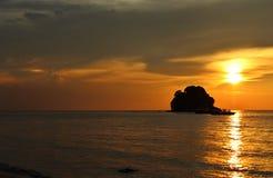 Заход солнца на tekek, tioman, Малайзии Стоковая Фотография RF