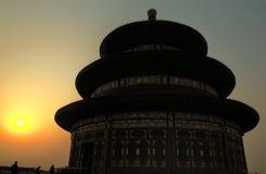 заход солнца на tiantan bejing фарфоре Стоковое Изображение