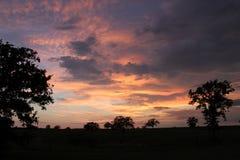 Заход солнца на Waelder Техасе Стоковое Фото