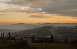 Заход солнца на Werneth низком Стоковая Фотография RF