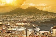Заход солнца Неаполя стоковое фото rf