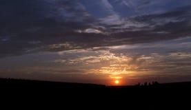 Заход солнца неба в сентябре Стоковые Фотографии RF