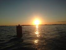 Заход солнца Нидерланд Стоковое Изображение RF